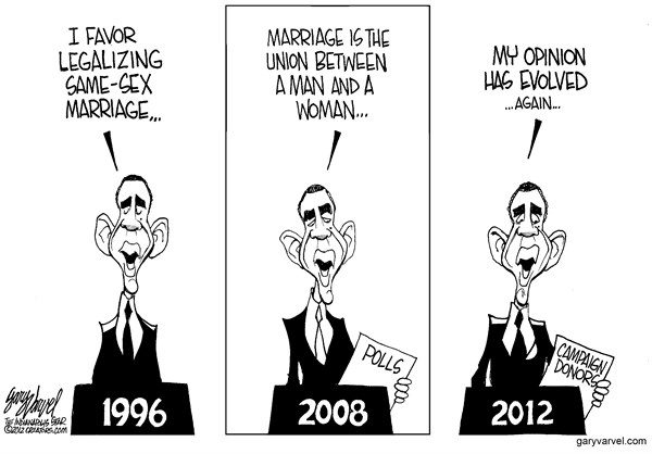 Obama Evolves © Gary Varvel,The Indianapolis Star News,obama,gay,marriage,evolve,man,woman,equality