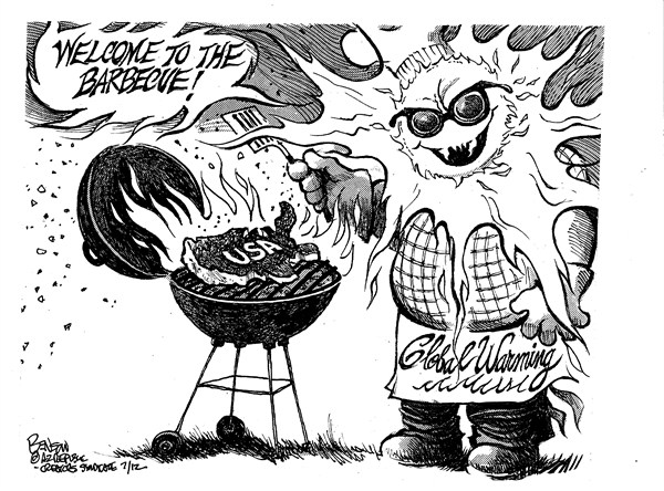 Hot BBQ © Steve Benson,Arizona Republic,weather,hot,heat,bbq,summer