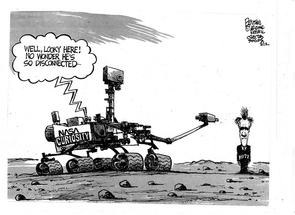 Romney Rover © Steve Benson,Arizona Republic,romney,rover,nasa,disconnected,mars,search,red,planet,campaign,election,curiosity-mars