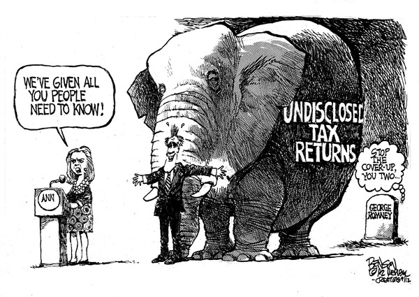 Romney Tax Returns © Steve Benson,Arizona Republic,Mitt Romney,Ann Romney,taxes,tax return