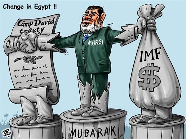 Change in Egypt © Emad Hajjaj,Jordan,change in Egypt,president Mohammad Morsi,Arab spring,dictator statue,Saddam,Fardose,IMF,Camp David peace treaty,nothing changed,hand shake,dollars,debts,plan,budget,Haram Halal,Islam,Muslim brothers,Mubarak,Middle East,Emad Hajjaj