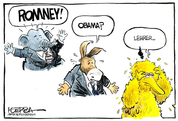 Big Bird © Jeff Koterba,Omaha World Herald, NE,big bird,pbs,funding,gop,romney,debate,pbs11