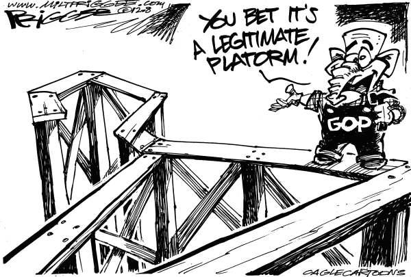 Legitimate Platform © Milt Priggee,www.miltpriggee.com,gop, conservative, republican, platform, rnc, convention