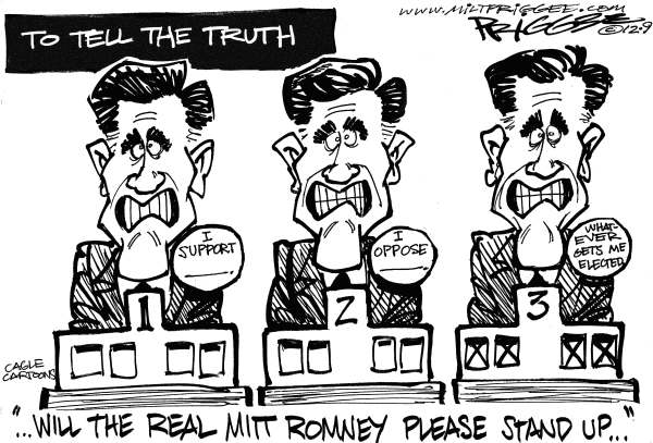 To Tell the Truth © Milt Priggee,www.miltpriggee.com,Mitt Romney, gop, conservative, truth, pandering, support, opposition