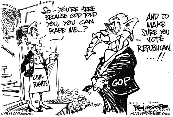 War on Women © Milt Priggee,www.miltpriggee.com,civil rights, war on women, abortion, republicans, top, sex, elections, 2012