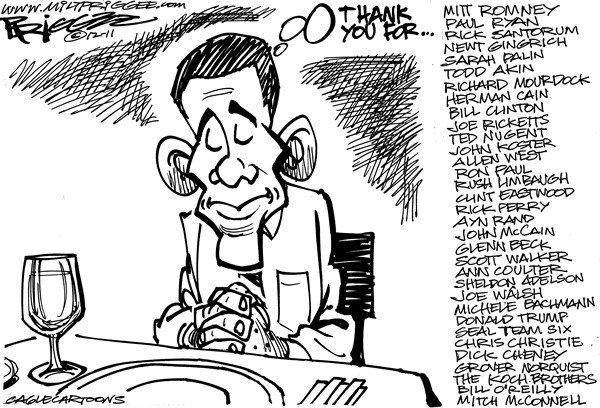 Giving THANKS © Milt Priggee,www.miltpriggee.com,Obama,Thanksgiving,president,2012,romney,santorum,ryan,gingrich,palin,akin,mourdock,cain,clinton,ricketts,nugent,koster,west,paul,limbaugh,eastwood,perry,rand,mccain,beck,walker,coulter,adelson,walsh,bachmann,trump,seal team,political thanksgiving