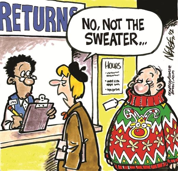 Returns © Steve Nease,Freelance,returns,sweater,Christmas 2012, gifts, holiday bills