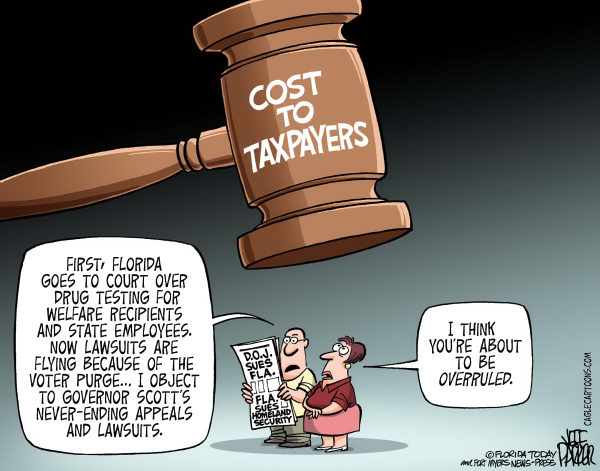 LOCAL FL State of Fla Lawsuit Costs © Jeff Parker,Florida Today and the Fort Myers News-Press,Florida, state, Rick Scott, court, appeals, sue, lawsuit, Department of Justice, Homeland Security, drug, testing, welfare, recipient, worker, employee, blocked, ruled, against, struck, cost, taxpayer, gavel, objection, overrule