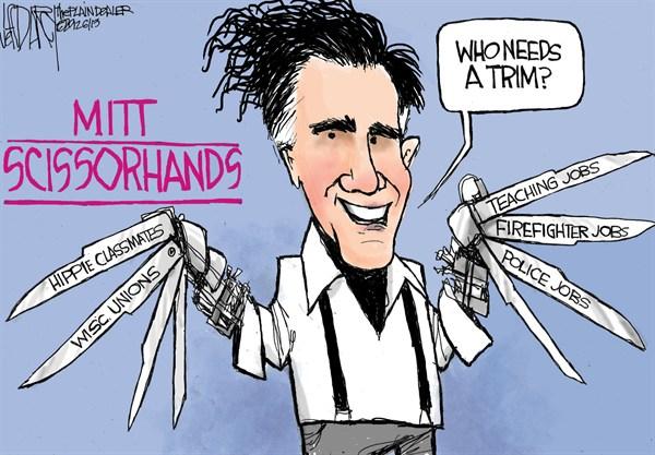 Mitt Scissorhands © Jeff Darcy,The Cleveland Plain Dealer,mitt romney,jobs,police,trim,economy,campaign,president