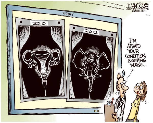 coletoon    GOP uterus © John Cole,The Scranton Times-Tribune,gop, women, abortion, reproductive rights, akin, romney, ryan, 2012