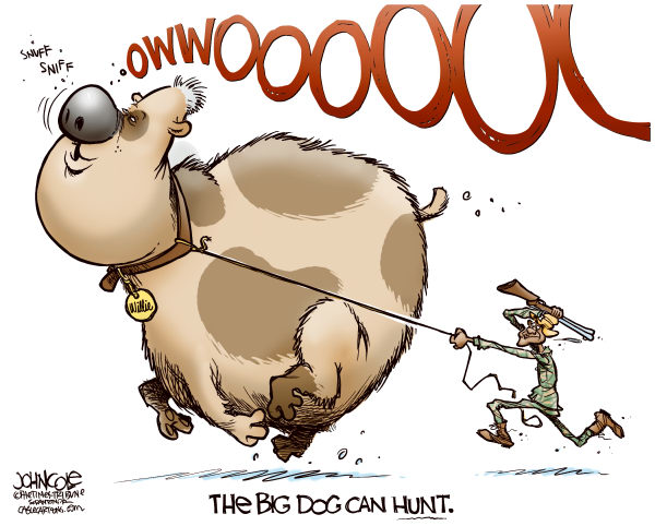 The Big Dog can hunt © John Cole,The Scranton Times-Tribune,bill clinton,barak obama,dnc,convention,nomination,clinton speech