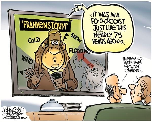 Frankenstorm © John Cole,The Scranton Times-Tribune,hurricane, sandy, frankenstorm, northeast, storm, flooding, climate change, climate