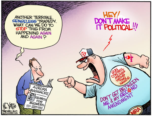 Gun Violence Politics © Christopher Weyant,The Hill,Aurora, massacre, Colorado, NRA, National Rifle Association, politics, solutions, tragedy, James Holmes, gun control, regulation, gun nuts, Columbine, Congress, Bloomberg, Obama, Romney