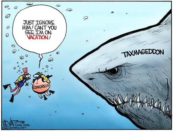 Jawsmageddon © Christopher Weyant,The Hill,Congress,taxmageddon,Senate,House of Representatives,tax increase,spending cuts,sequestration,2012,economy,recession,slowdown,crash,taxes,Bush tax cuts,shark