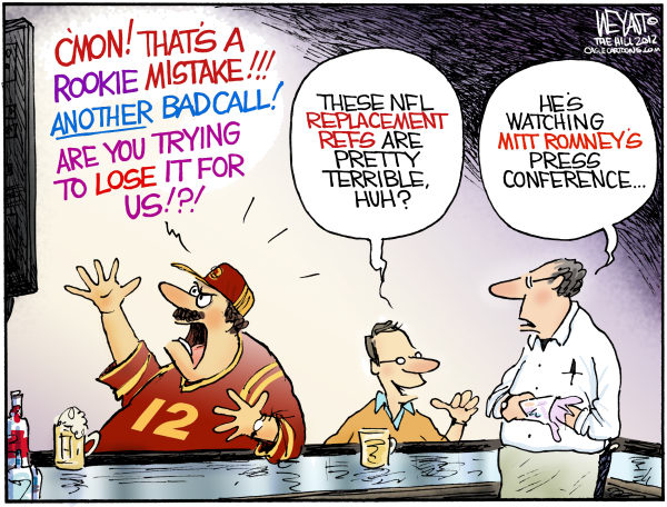 Replacement Candidate © Christopher Weyant,The Hill,Mitt Romney, replacement ref, referee, NFL, football, strike, gaffe, campaign, loss, polls, GOP, 2012, election, Obama, 47, comments, victims, middle class