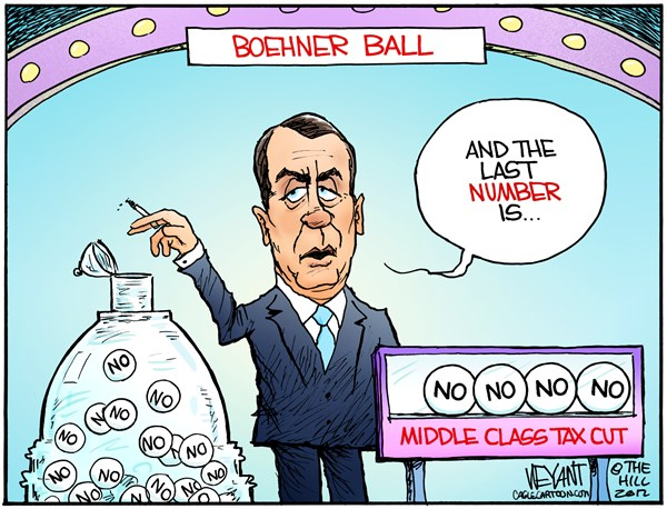 Boehner Ball © Christopher Weyant,The Hill,Power Ball,Boehner,Speaker of the House,middle class tax cut,no,GOP,Congress,Republican,Obama,Tea Party,budget,sequestration,Bush tax cuts,lottery,,fiscal cliff