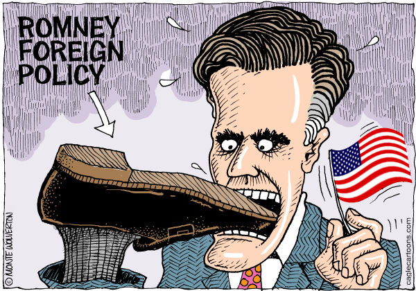 Romney Foreign Policy © Wolverton,Cagle Cartoons,Romney, Mitt, Mitt Romney, London, England, Olympics, Israel, Gaffs