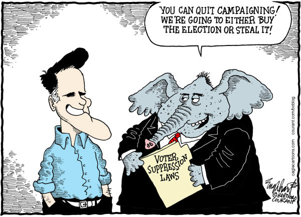 Republican Thieves © Bob Englehart,The Hartford Courant,Mitt Romney, GOP, elephant, vote id, voter suppression, ballot, eelction