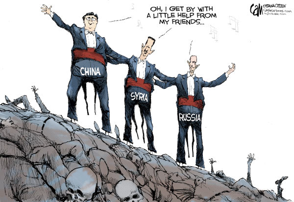 Friends © Cardow,The Ottawa Citizen,China, Syria, Russia, Putin, Assad, death, civilians, murder, bloodshed, Hu, Jintao, middle, east