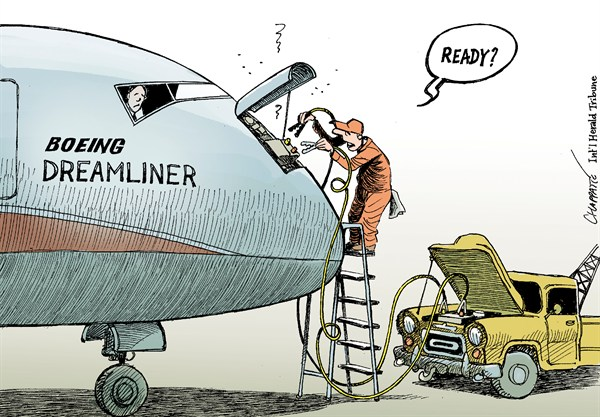Boeing Dreamliner Problems © Patrick Chappatte,The International Herald Tribune,Transports,Aviation,Boeing,Dreamliner,USA,Cars,Economy
