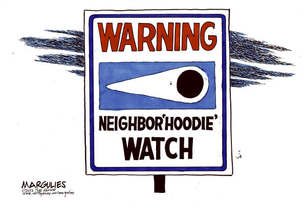 Trayvon Martin hoodie © Jimmy Margulies,The Record of Hackensack, NJ,Trayvon Martin, Hoodie, Hoodie sweatshirts, Neighborhood watch, Florida Stand your ground law, guns, handguns, National Rifle Association, racism, Stereotyping
