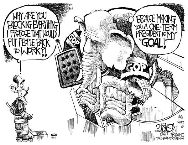 The Obstructionist © John Darkow,Columbia Daily Tribune, Missouri,GOP, President, Obama, Block, Hockey, Goal, Republican, Propose, Work, People, Term, Economy, Ice