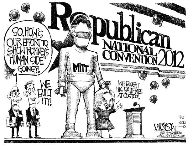Showing Mitts Softer Side © John Darkow,Columbia Daily Tribune, Missouri,Knight, Armour, Effort, Romney, Human, Side, Batteries, Costco, Republican, National Convention, 2012, Built, Stage, Balloons