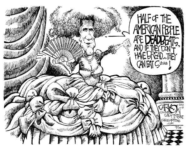Mitt Antoinette © John Darkow,Columbia Daily Tribune, Missouri,Mitt Romney, Dress, Girl, Fan, Boobs, American, People, Dead Beats, Bread, Eat, Southern Belle