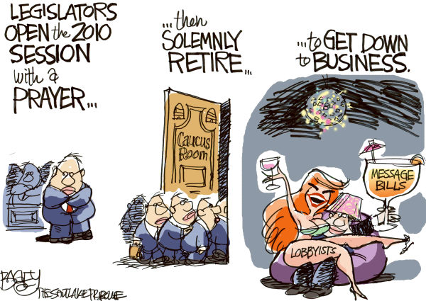 The image of corrupt politician, Congressman, has become easy to promote, driven by Transparency International's flawed data. The role of these Think Tanks gets concealed. (Cartoon - BY PAT BAGLEY, Published by SALT LAKE TRIBUNE  -  1/27/2010 12:00:00 AM; courtesy - caglecartoons.com). Click for larger image.
