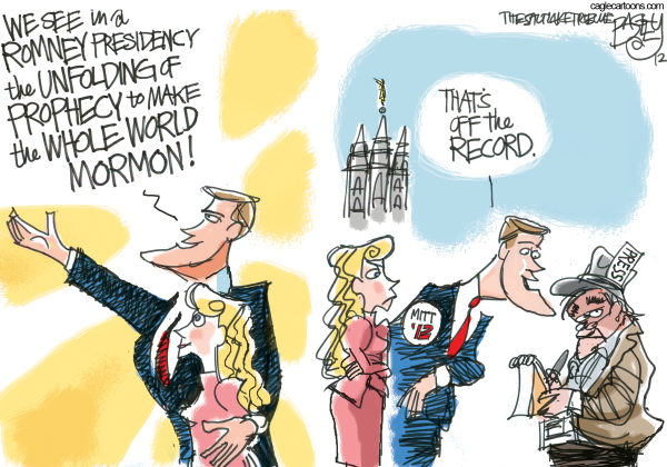 The Mormon Moment © Pat Bagley,Salt Lake Tribune,Mormons, Mitt, LDS, Latter-day Saints, Church, Romney, Religion, Mormon, Salt Lake, Temple, Press