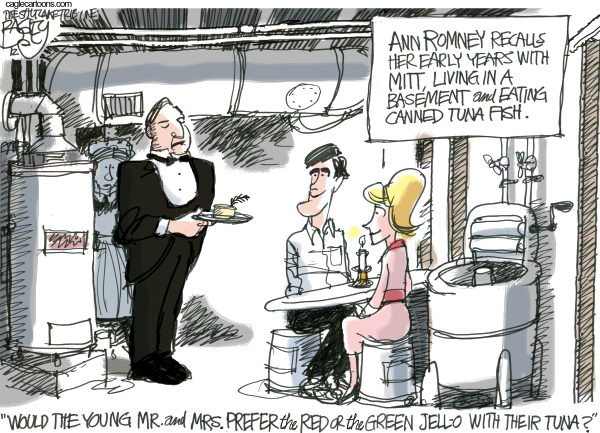 Ann and Mitt Romney © Pat Bagley,Salt Lake Tribune,Ann, Basement, Romney, Ann Romney, Mitt, Mitt Romney, Downton Abbey, Carson, Butler, Maid, Upstairs Downstairs, Early Years, Convention, RNC, Tampa