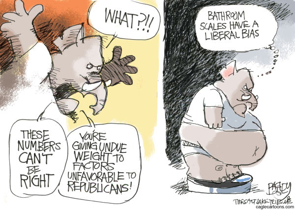 Liberal Numbers © Pat Bagley,Salt Lake Tribune,Liberal Bias, MSM, Media, Polls, Polling, Republicans, GOP, Presidential Race, Mitt, Romney, Numbers