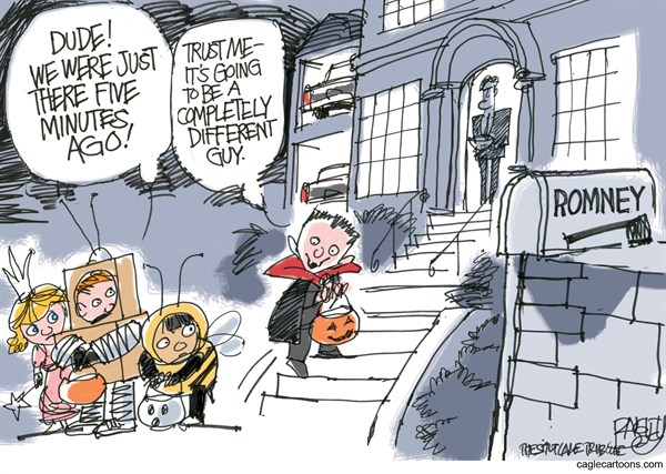 Trick or Treat Mitt © Pat Bagley,Salt Lake Tribune,Mitt,Romney,Trick or Treat,Campaign,Etch-a-Sketch,Moderate,Conservative,Severely Conservative,Election,2012,Halloween