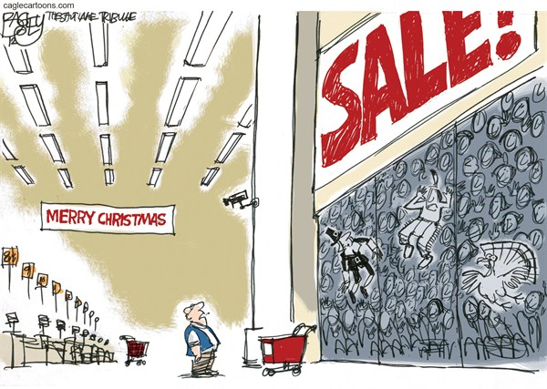 Christmas Comes Early © Pat Bagley,Salt Lake Tribune,Thanksgiving,Retail,Black Friday,Black Thursday,Early Opening,Holidays,black friday 2012, Christmas