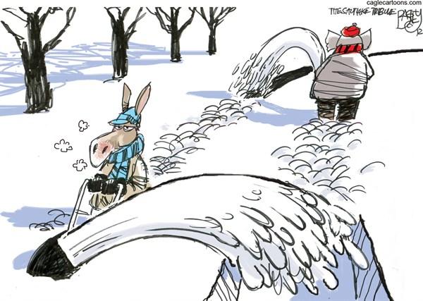 Snow Job © Pat Bagley,Salt Lake Tribune,Snow blower,Storm,Republicans,Bipartisan,Democratic,Democrats,Fiscal Cliff,Government,Spending,Negotiations,Taxes,Debt, winter 2012,GOP
