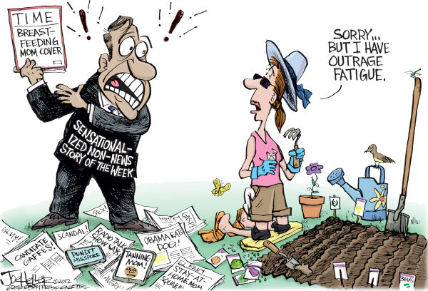 Outrage Fatigue © Joe Heller,Green Bay Press-Gazette,Outrage Fatigue, cable news, tanning mom, time magazine, breast feeding, dog, obama, rush, stay at home, pundit, gaffes, media