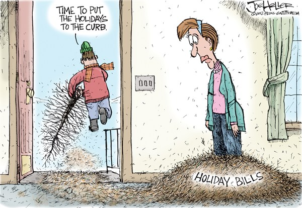 Holiday Bills © Joe Heller,Green Bay Press-Gazette,holiday bills,needles,christmas tree,spending,credit cards,Christmas 2012