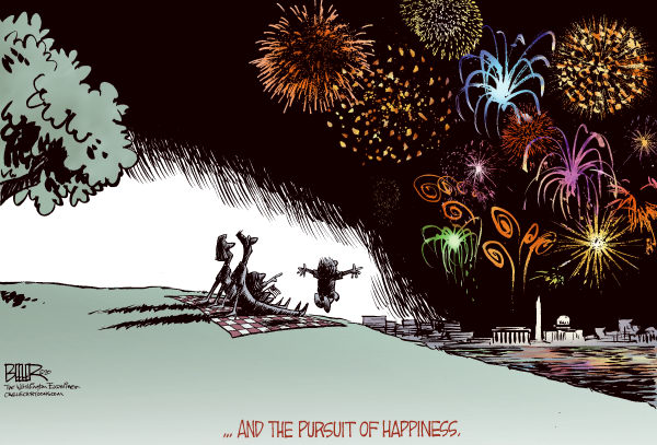 Fourth of July COLOR © Nate Beeler,The Washington Examiner,fourth of july, july fourth, independence day, fireworks, pursuit, happiness, declaration of independence, holiday, 4th, family