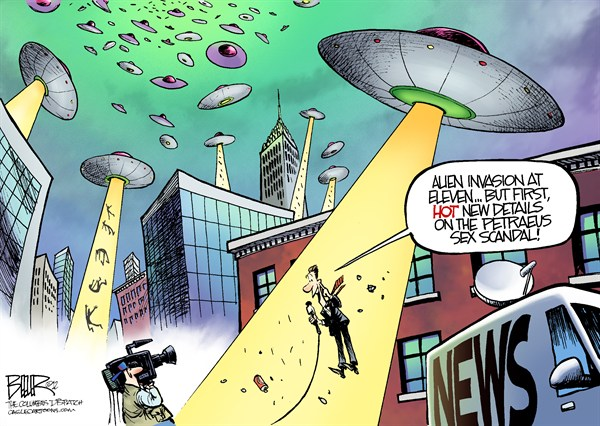 Sex Scandal © Nate Beeler,The Columbus Dispatch,general,david petraeus,sex,scandal,politics,cia,director,central intelligence agency,affair,extramarital,broadwell,media,news,tv,television,alien,invasion,ufo,military,petraeus affair, spy