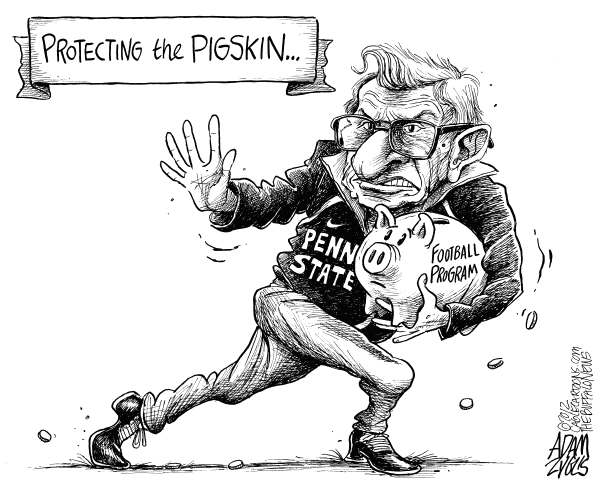 Joe Paterno Legacy © Adam Zyglis,The Buffalo News,joe paterno, penn state, heisman, pose, sex scandal, abuse, child, children, sandusky, coverup, pigskin, football, program, ncaa, sports, college, money