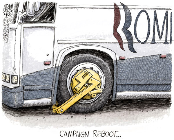 Romney Campaign Reboot © Adam Zyglis,The Buffalo News,romney, mitt, reboot, 47 percent, taxes, gaffe, video, dinner, bus, fundraiser, campaign, reboot, election, president, race, gop, republican, candidate