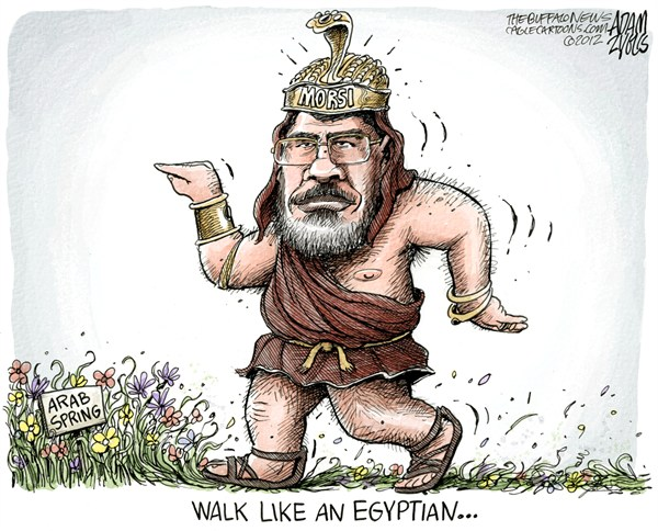 Egypt President Morsi © Adam Zyglis,The Buffalo News,egypt,president,morsi,constitution,arab spring,walk,like,egyptian,middle east,democracy,freedom,Pharoh Mohamed Morsi