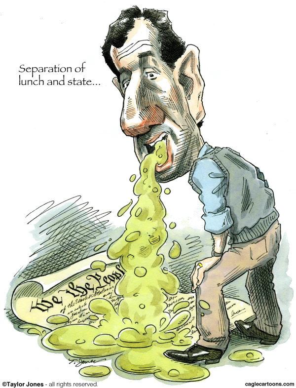 Santorum on the Constitution © Taylor Jones,Politicalcartoons.com,santorum,rick,rick santorum,republicans,tea party,constitution,separation,church and state,separation of church and state,catholics,catholicism,pennsylvania,michigan,michigan primary