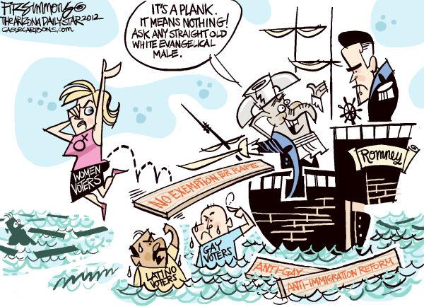 planks © David Fitzsimmons,The Arizona Star,planks,party,convention,republicans,womens vote, Mitt Romney, GOP, plank
