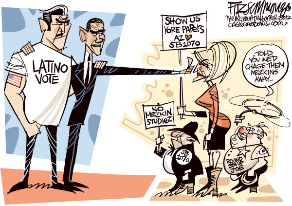 Gracias Arizona © David Fitzsimmons,The Arizona Star,Obama, latinos, arizona, immigration, sb1070