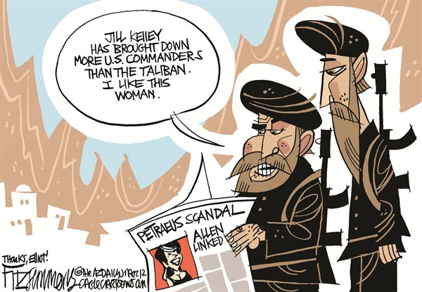 Afghaniscandal © David Fitzsimmons,The Arizona Star,Petraeus,Allen,Jill Kelley,Paula Broadland,scandal,petraeus affair, petraeus resigns