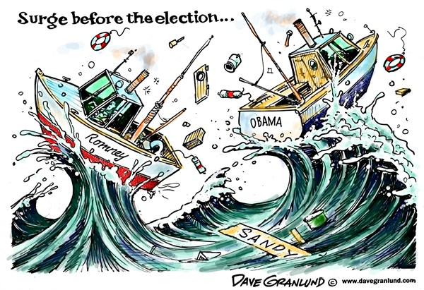 Hurricane Sandy and election © Dave Granlund,Politicalcartoons.com,hurricane sandy,nor-easter,northeast,east coat,monster storm,super storm,perfect storm,politics,romney,Obama,President,rain,wind,presidential election,election day,campaign 2012, final election countdown, frankenstorm, political storm