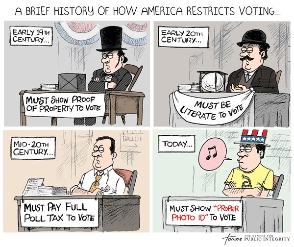 Voter ID © Rob Tornoe,PoliticalCartoons.com,Voter ID,poll tax,voter fraud,election,id,Republican