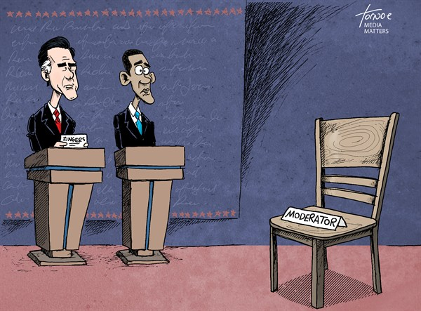 Debate Empty Chair © Rob Tornoe,Media Matters,Mitt Romney,Barack Obama,debate,moderator,chair,Denver,Jim Lehrer,after-the-debate,After the Debate