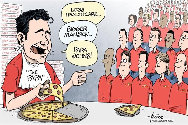 Papa Johns © Rob Tornoe,WHYY,Papa Johns, pizza, Obamacare, John Schnatter, healthcare, 1 percent, 99 percent